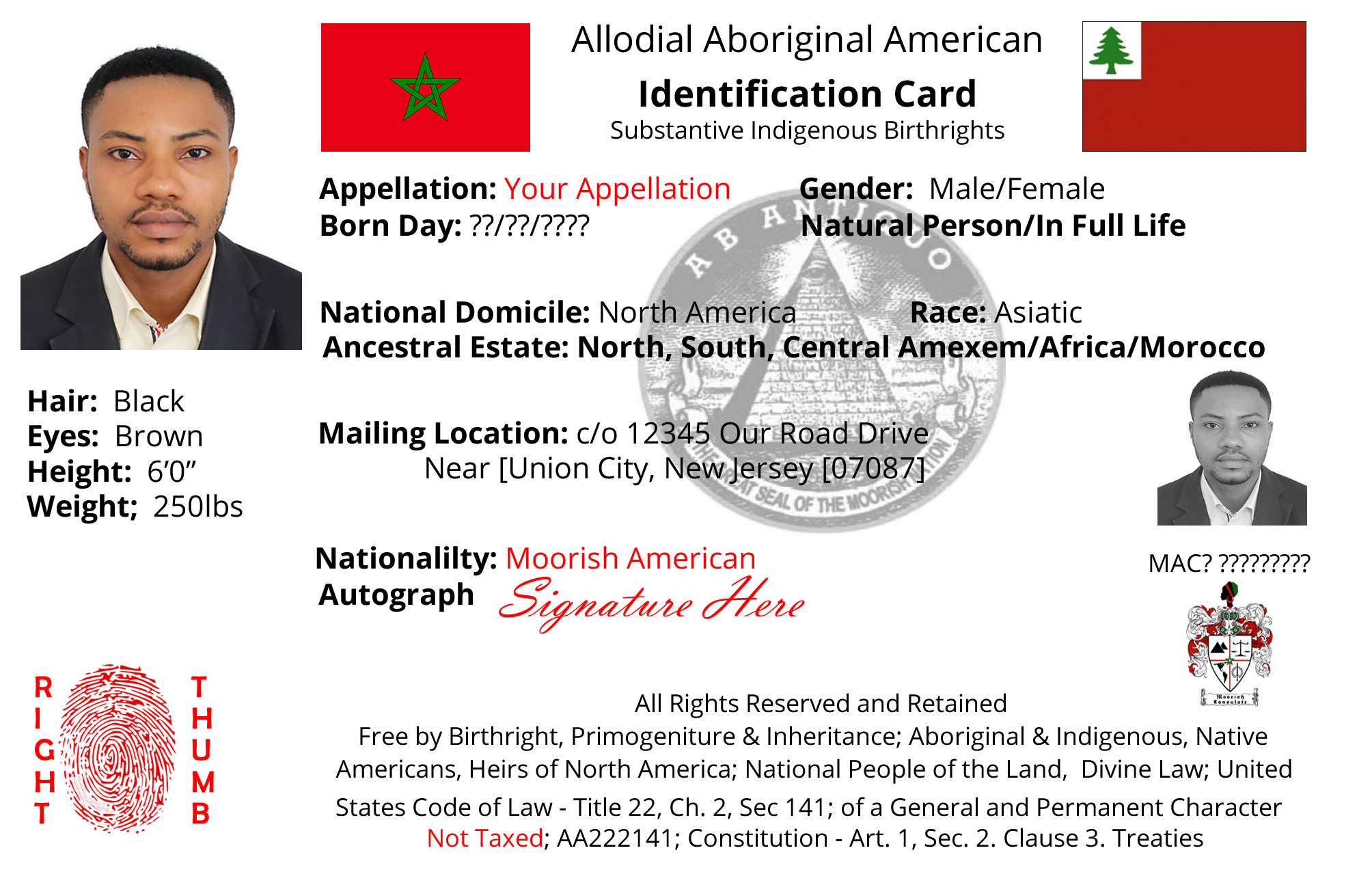 Moorish Nationality Card 2019